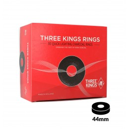 Charbons THREE KINGS RINGS 44mm boîte de 80